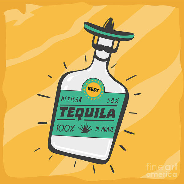 Typographic Wall Art - Digital Art - Vintage Poster With A Tequila Bottle by Ne2pi