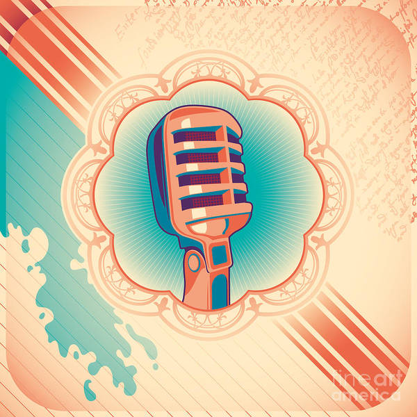 Communication Wall Art - Digital Art - Vintage Poster With Microphone. Vector by Radoman Durkovic