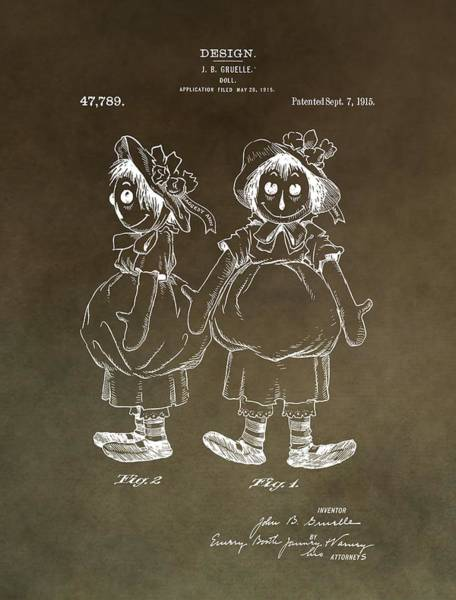 Wall Art - Mixed Media - Vintage Raggedy Ann Patent by Dan Sproul