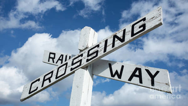 Photograph - Vintage Railway Crossing Sign by Edward Fielding