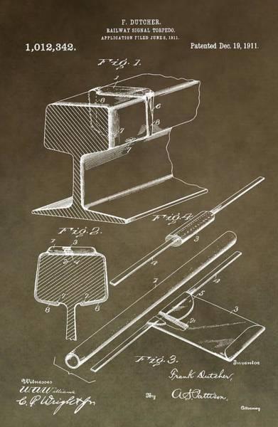 Digital Art - Vintage Railway Torpedo Patent by Dan Sproul
