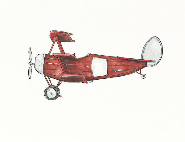 Boys Room Painting - Vintage Red And Gray Airplane by Annie Laurie
