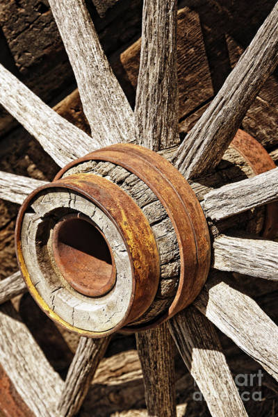 Photograph - Vintage Rustic Wagon Wheel 2 by Lincoln Rogers
