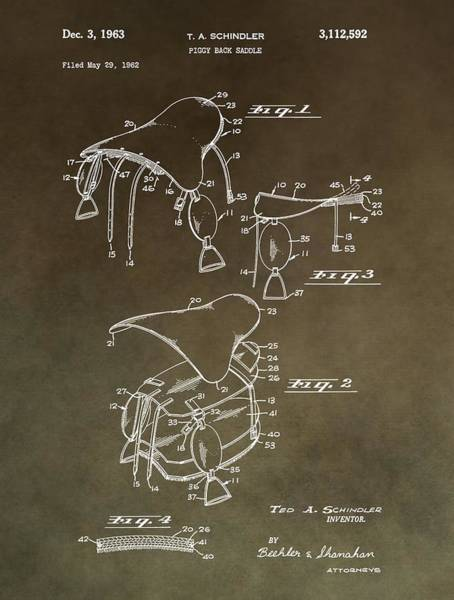 Mixed Media - Vintage Saddle Patent Drawing by Dan Sproul