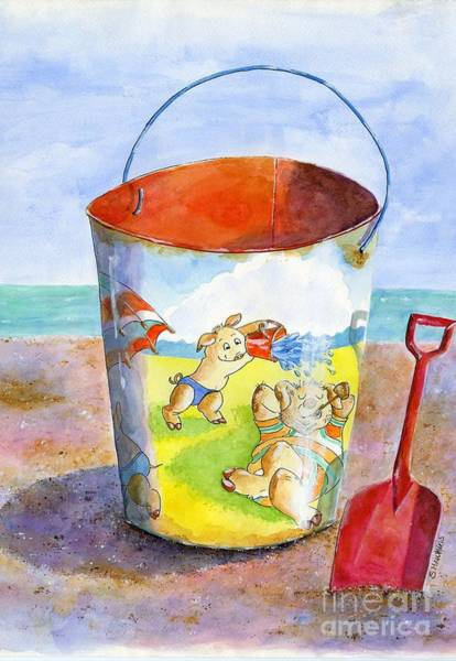 Wall Art - Painting - Vintage Sand Pail- 3 Pigs At The Beach by Sheryl Heatherly Hawkins