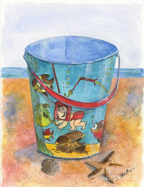 Sand Castle Painting - Vintage Sand Pail Sweet Pea by Sheryl Heatherly Hawkins