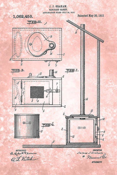 Painting - Vintage Sanitary Closet Patent 1912 by Celestial Images