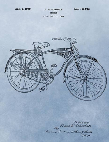Mixed Media - Vintage Schwinn Bicycle Patent by Dan Sproul