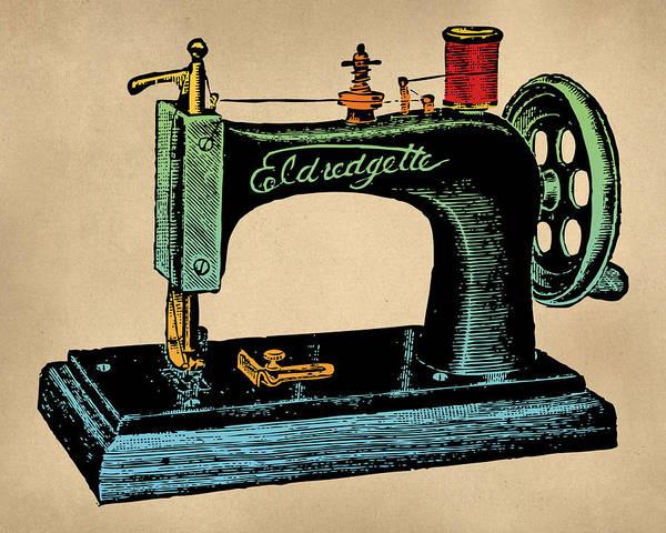 Wall Art - Digital Art - Vintage Sewing Machine Illustration by Flo Karp