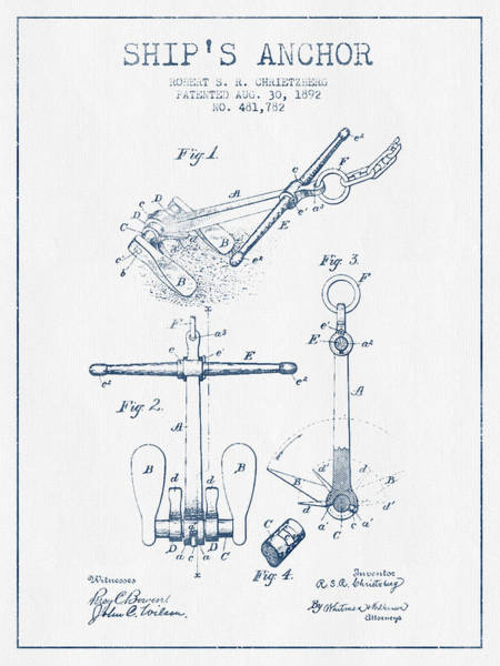 Anchor Digital Art - Vintage Ship Anchor Patent From 1892  -  Blue Ink by Aged Pixel