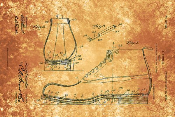 Painting - Vintage Shoe Patent From 1906 by Celestial Images