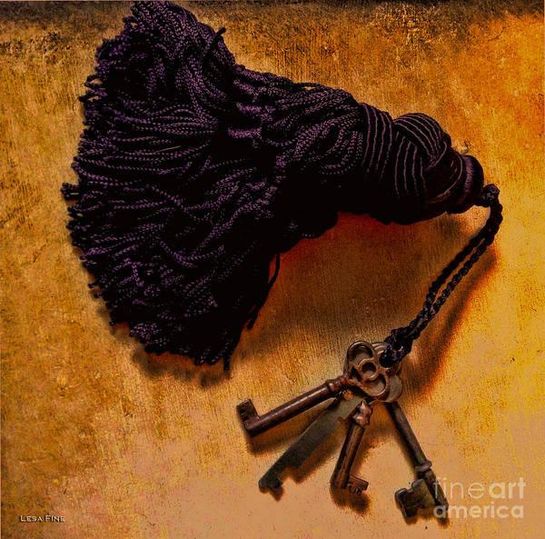 Photograph - Vintage Skeleton Keys Tassled Gold by Lesa Fine