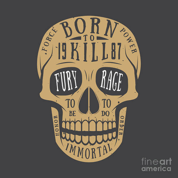 Biker Wall Art - Digital Art - Vintage Skull Label, Emblem And Logo by Akimd
