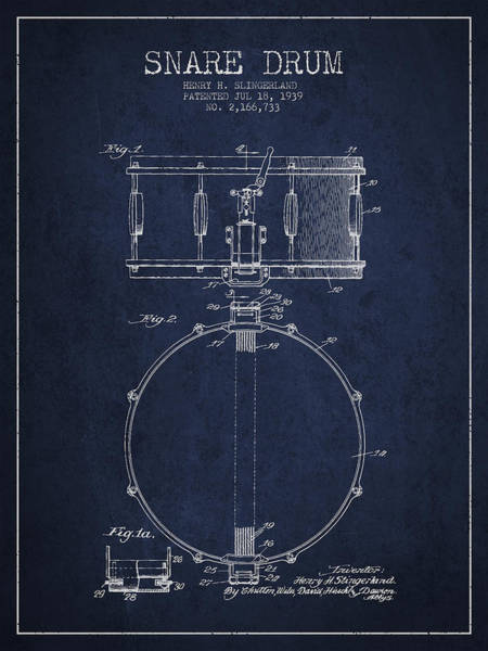 Country Living Digital Art - Snare Drum Patent Drawing From 1939 - Blue by Aged Pixel