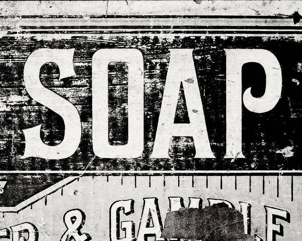 Wall Art - Photograph - Vintage Soap Crate In Black And White by Lisa Russo