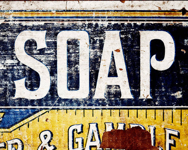 Lisa Russo Wall Art - Photograph - Vintage Soap Crate In Country Yellow And Blue by Lisa Russo