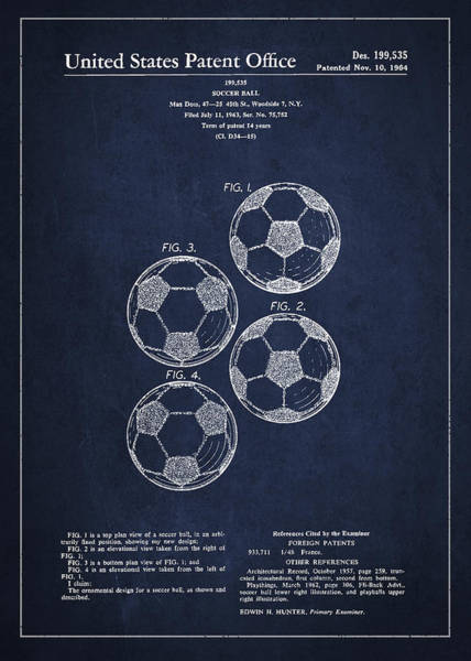 Intellectual Property Wall Art - Digital Art - Vintage Soccer Ball Patent Drawing From 1964 by Aged Pixel
