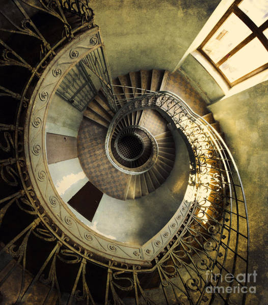 Art Print featuring the photograph Vintage Spiral Staircase by Jaroslaw Blaminsky