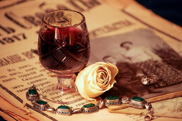 Still Life Wall Art - Photograph - Vintage Still Life With Wine by Anna Aybetova