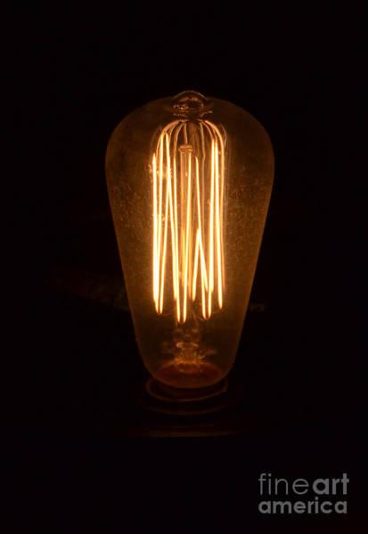 Wall Art - Photograph - Vintage Style Lightbulb Lit by Jill Battaglia