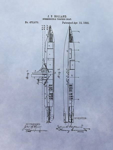 Drawing - Vintage Submarine Boat Patent by Dan Sproul