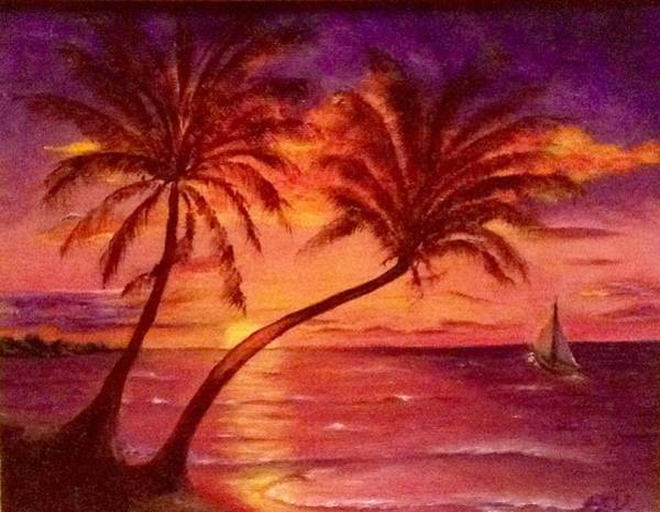 Painting - Vintage Sunset Sail  by Susan Dehlinger