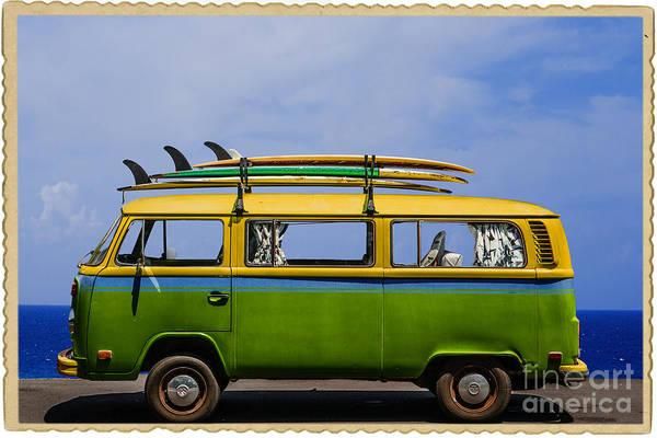 Surfboard Photograph - Vintage Surf Van by Diane Diederich