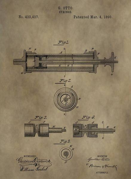 Mixed Media - Vintage Syringe Patent Drawing by Dan Sproul