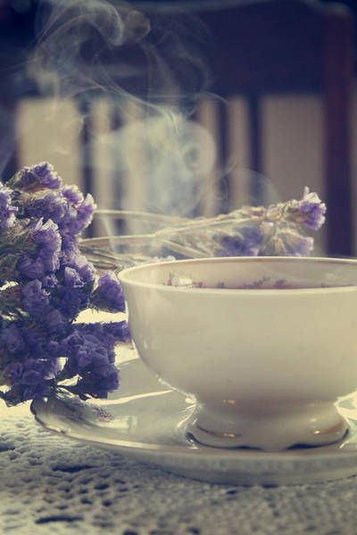 Atmospheric Photograph - Vintage Tea Set With Purple Flowers by Cambion Art