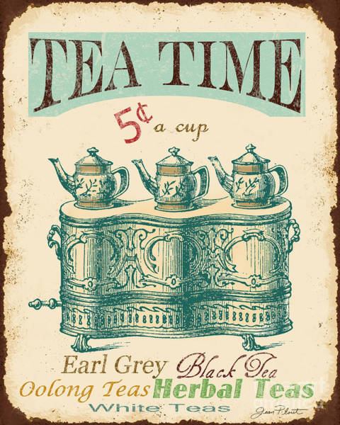 Rustic Digital Art - Vintage Tea Time Sign by Jean Plout