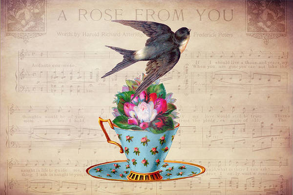 Digital Art - Vintage Teacup And Swallow by Peggy Collins