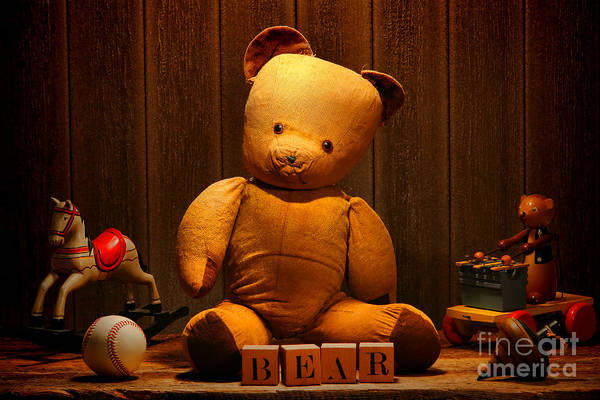 Photograph - Vintage Teddy Bear And Toys by Olivier Le Queinec