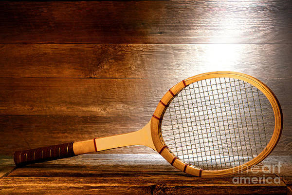 Wood Planks Photograph - Vintage Tennis Racket by Olivier Le Queinec