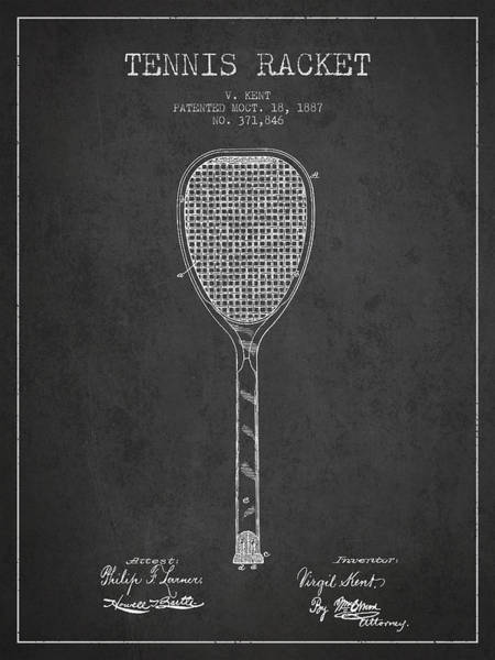 Wall Art - Digital Art - Vintage Tennnis Racket Patent Drawing From 1887-dark by Aged Pixel