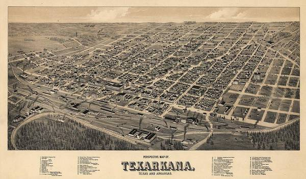 Arkansas Mixed Media - Vintage Texarkana Map by Dan Sproul