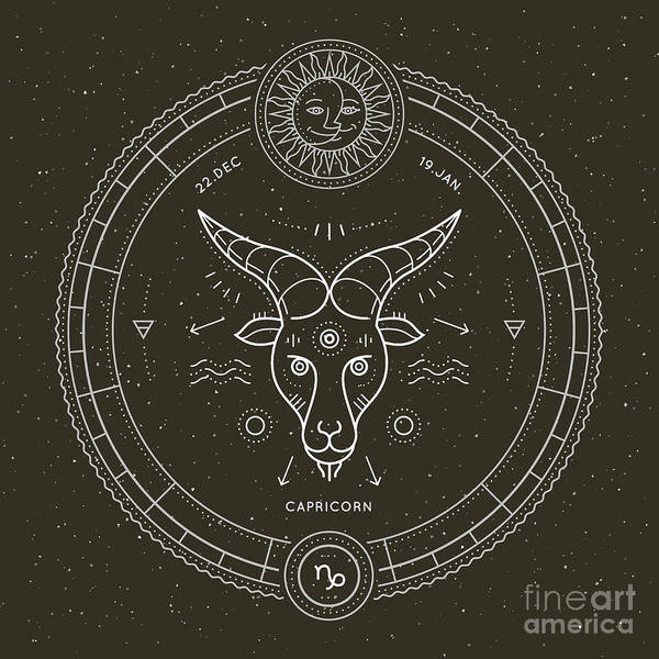 Magic Wall Art - Digital Art - Vintage Thin Line Capricorn Zodiac Sign by Painterr