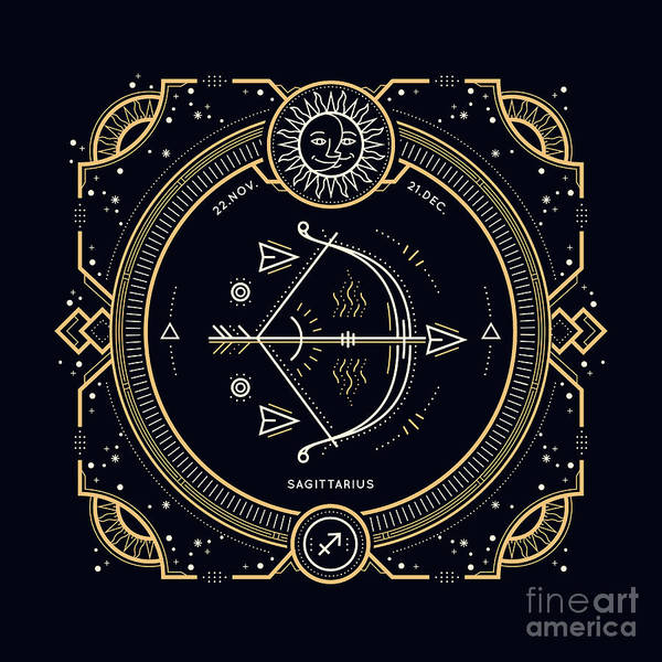 Circle Digital Art - Vintage Thin Line Sagittarius Zodiac by Painterr