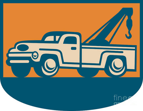 Pick Up Truck Digital Art - Vintage Tow Wrecker Pick-up Truck  by Aloysius Patrimonio