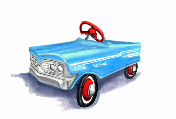 Pedal Car Wall Art - Painting - Vintage Toy Pedal Car by Elaine Hodges