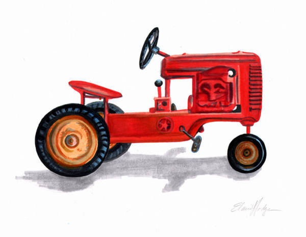 Vintage Tractor Painting - Vintage Toy Pedal Tractor by Elaine Hodges
