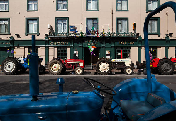 County Waterford Photograph - Vintage Tractors Lined by Panoramic Images