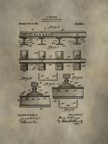 Digital Art - Vintage Train Track Patent by Dan Sproul