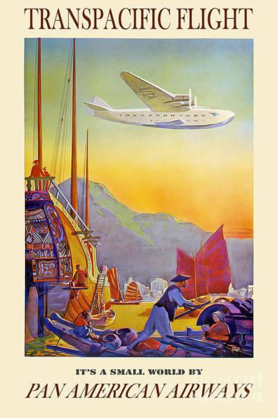 Vintage Airplane Photograph - Vintage Transpacific Flight Travel Poster by Jon Neidert