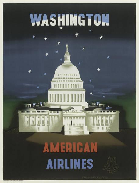 Capitol Digital Art - Vintage Travel Poster - Washington by Georgia Fowler
