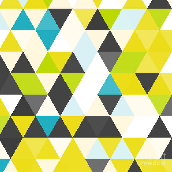 Bright Digital Art - Vintage Triangle Pattern.geometric by Veronika M