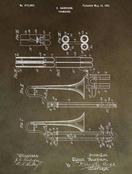 Vibrations Digital Art - Vintage Trombone Patent by Dan Sproul