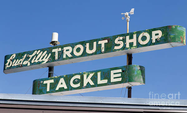 Wall Art - Photograph - Vintage Trout Shop Sign West Yellowstone by Edward Fielding