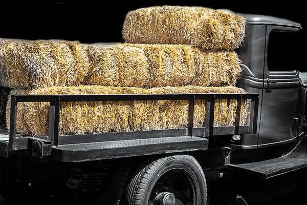 Photograph - Vintage Truck With Straw by Gunter Nezhoda