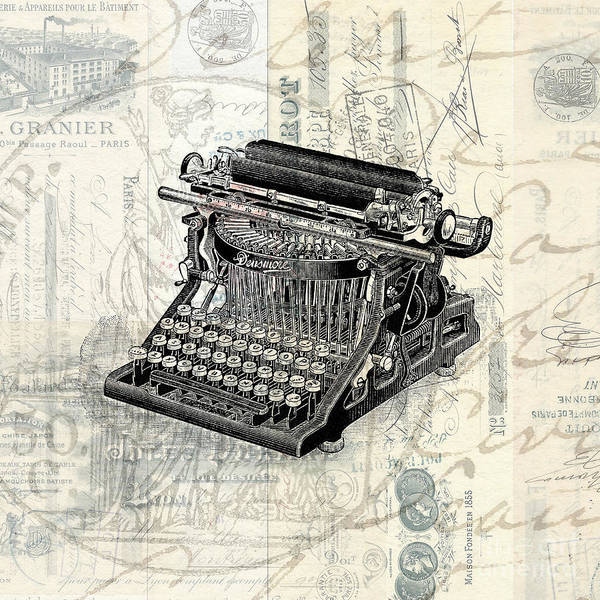 Typewriters Wall Art - Photograph - Vintage Typewriter French Letters Square Format by Edward Fielding