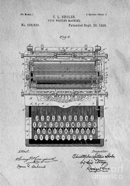 Create Digital Art - Vintage Typewriter Patent Art 1896 by Edward Fielding